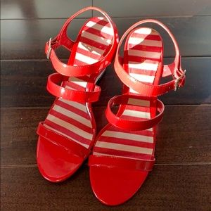 Brand New Ann Marino Red Patent & White Sandals
